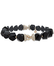 Anne Klein Faceted Bead & Crystal Stretch Bracelet, Created for Macy's