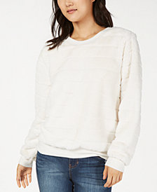Crave Fame Juniors' Faux-Fur Stripe Sweatshirt