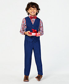 Nautica Toddler Boys 4-Pc. Checked Shirt, Vest, Pants & Bowtie Set