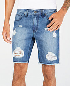 I.N.C. Men's Ripped Shadow Stripe Denim Shorts, Created for Macy's