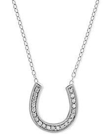 "Diamond Horseshoe 18"" Pendant Necklace (1/10 ct. t.w.) in Sterling Silver"