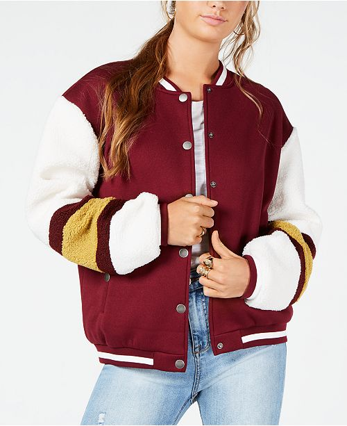 fashionable patterns superior performance professional Say What? Juniors' Varsity Sherpa Bomber Jacket & Reviews ...