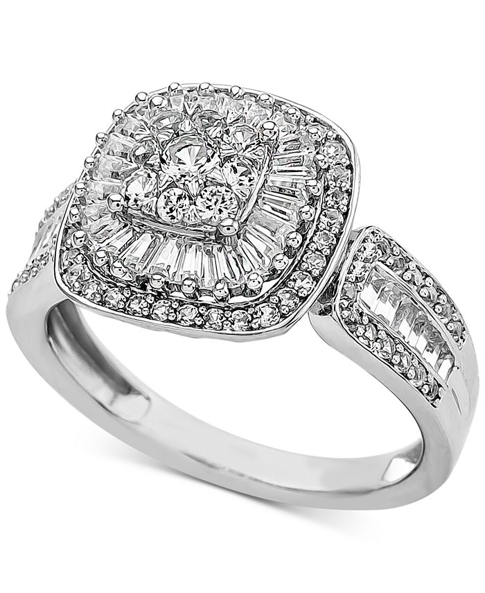 Macy's - Diamond Baguette Cluster Engagement Ring (1 ct. t.w.) in 14k White Gold