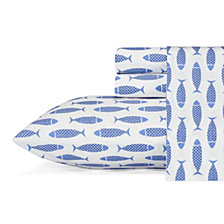 Nautica Woodblock Fish Twin Sheet Set