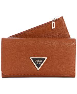 Lauri Boxed 2-In-1 Wallet, Cognac/Gold