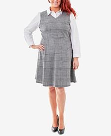 Plaid Plus Size Fit & Flare Blouse Dress