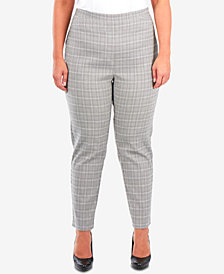 NY Collection Plus Size Plaid Slim-Fit Ankle Pants