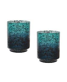 Emerald Ombre Hurricane Vases- Set of 2