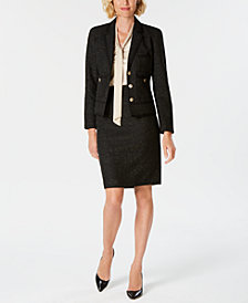 Kasper Tweed Three-Button Jacket, Tie-Neck Shell & Pencil Skirt