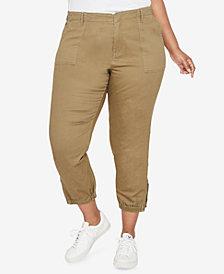 RACHEL Rachel Roy Trendy Plus Size Cropped Military Pants