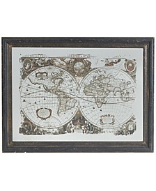 "31"" Vintage Style World Map Classic Mirrored Wall Art"