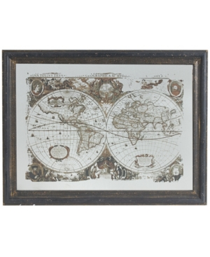 """Image of 31"""" Vintage Style World Map Classic Mirrored Wall Art"""
