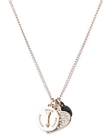 "DKNY Two-Tone Pavé Follow Your Heart Pendant Necklace, 16"" + 3"" extender, Created for Macy's"