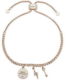 DKNY Gold-Tone Pavé Break The Rules Slider Bracelet, Created for Macy's