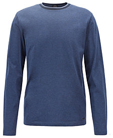 BOSS Men's Contrast-Neck Cotton Long-Sleeve T-Shirt