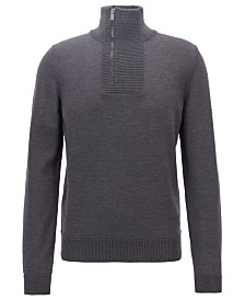 BOSS Men's Zip-Neck Virgin Wool Sweater