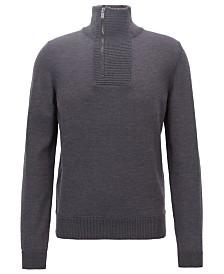 BOSS Men's Zip-Neck Virgin Wool Sweater