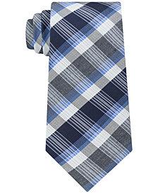 Kenneth Cole Reaction Men's Plaid Stripe Slim Silk Tie
