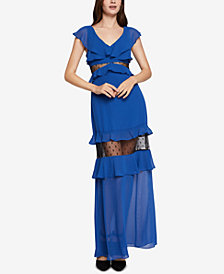BCBGeneration Tiered Illusion Flounce Dress