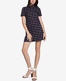BCBGeneration Turtleneck Printed A-Line Dress