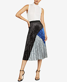 BCBGMAXAZRIA Velvet Colorblocked Skirt