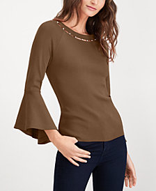 I.N.C. Bead-Neck Bell-Sleeve Top, Created for Macy's