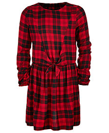 Epic Threads Big Girls Plaid Tie-Front Dress, Created for Macy's