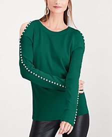 I.N.C. Studded Cold-Shoulder Top, Created for Macy's