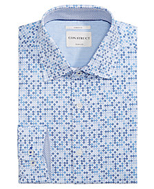 Con.Struct Men's Slim-Fit Stretch Sprocket Pattern Dress Shirt