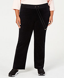 Charter Club Plus Size Velour Drawstring-Waist Pants, Created for Macy's