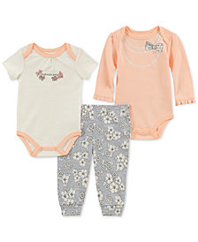 Calvin Klein Baby Girls 3-Pc. Printed Bodysuits & Pants Set