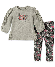 Calvin Klein Baby Girls 2-Pc. Ruffle-Trim Tunic & Floral-Print Leggings Set