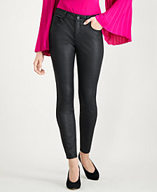 I.N.C. Petite Coated Black Skinny Jeans, Created for Macy's