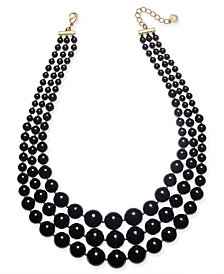 "Charter Club Gold-Tone Jet Pearl Layer Statement Necklace, 18"" + 2"" extender, Created for Macy's"
