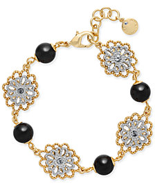 Charter Club Two-Tone Crystal Flower & Jet Imitation Pearl Link Bracelet, Created for Macy's