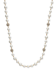 "Charter Club Gold-Tone Pavé Bead & Imitation Pearl Strand Necklace, 42"" + 2"" extender, Created for Macy's"