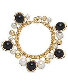 Charter Club Gold-Tone Pavé, Imitation Pearl & Bead Shaky Link Bracelet, Created for Macy's