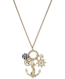 "Charter Club Gold-Tone Crystal & Bead Nautical Charm Pendant Necklace, 18"" + 2"" extender, Created for Macy's"