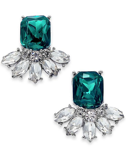 Charter Club Silver-Tone Emerald Crystal Stud Earrings, Created for Macy's