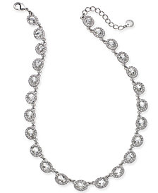 "Charter Club Silver-Tone Crystal Collar Necklace, 17"" + 2"" extender, Created for Macy's"