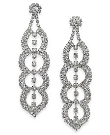 Thalia Sodi Silver-Tone Crystal Scalloped Drop Earrings, Created for Macy's