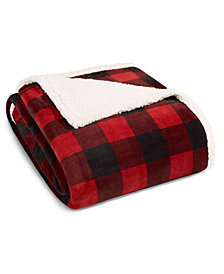 Eddie Bauer Mountain Plaid Red Sherpa Twin Blanket