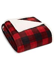 Eddie Bauer Mountain Plaid Red Sherpa Full/Queen Blanket