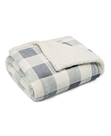 Eddie Bauer Mountain Plaid Chrome Ultra Plush Fleece Sherpa Throw