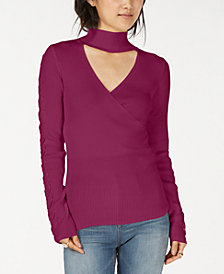 Hippie Rose Juniors' Choker-Neck Ribbed Sweater