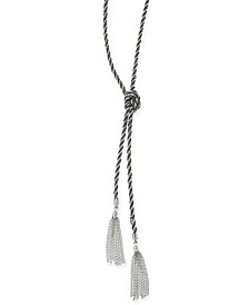 "Thalia Sodi Silver-Tone Knotted Rope Tassel 30-1/2"" Lariat Necklace, Created for Macy's"