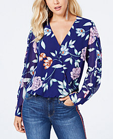 GUESS Eliza Floral-Print Surplice Top