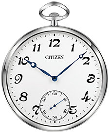Citizen Gallery Silver-Tone & White Pocket-Style Wall Clock