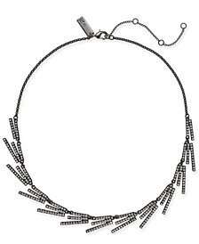 "I.N.C. Hematite-Tone Crystal Stick Collar Necklace, 18"" + 3"" extender, Created for Macy's"