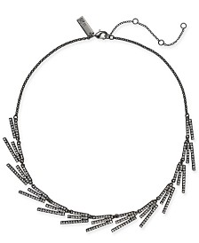 """I.N.C. Hematite-Tone Crystal Stick Collar Necklace, 18"""" + 3"""" extender, Created for Macy's"""
